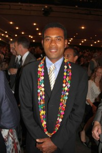 Silio Lalaqila — a representative of Fiji's Sisi Initiative — accepted the Equator Prize on behalf of the community group at a Rio+20 award ceremony